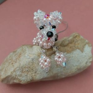 Handcrafted pink beads poodle dog bag phone charm